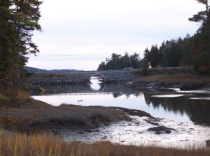 Maine stone bridges and water reflections on the coast